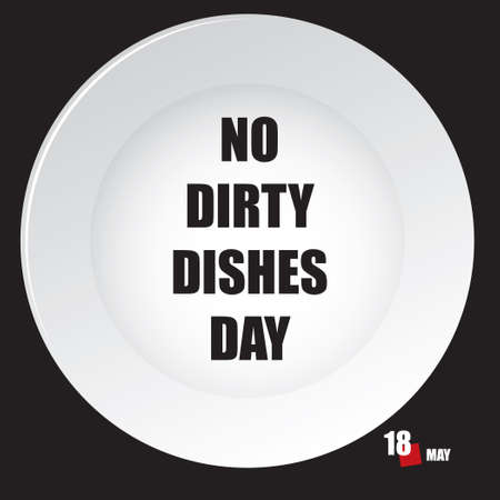 The calendar event is celebrated in may - No Dirty Dishes Day Çizim