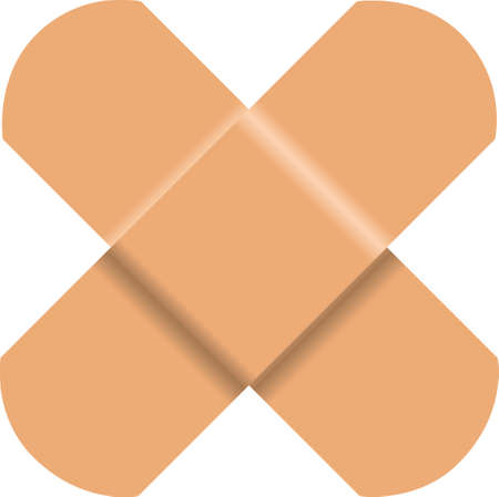 Used medical adhesive plaster in a common used form - a cross. Çizim