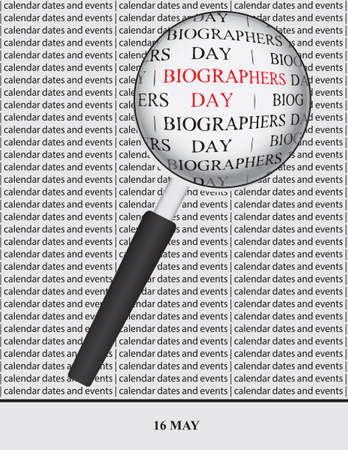 Creative illustration for calendar dates and events in May - Biographers Day