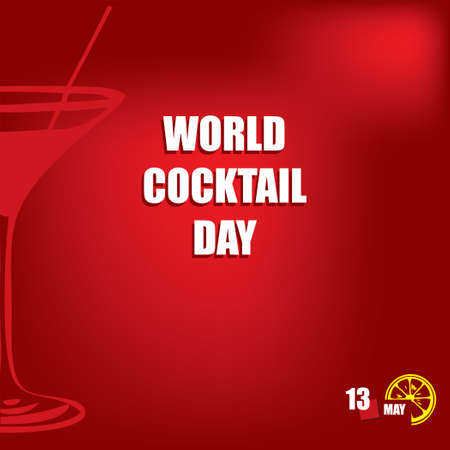 The calendar event is celebrated in may - World Cocktail Day Çizim