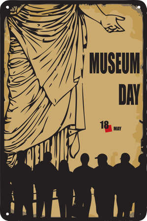 Old vintage sign to the date - Museum Day. Vector illustration for the holiday and event in may.