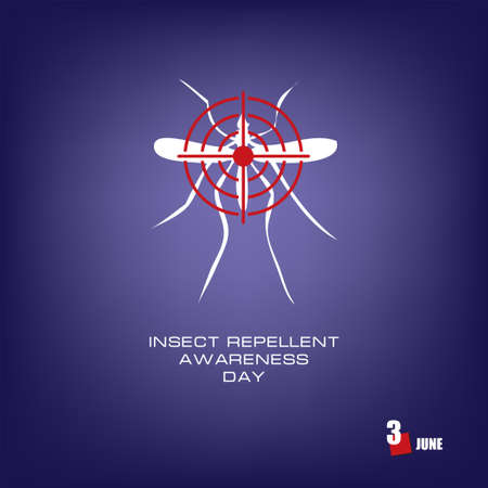 The calendar event is celebrated in june - Insect Repellent Awareness Day Çizim