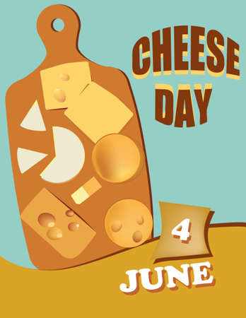 Poster Cheese Day.Vector illustration for a holiday date in june
