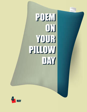 Celebrating a Date in Literature - Poem on Your Pillow Day. Vector illustration. Çizim