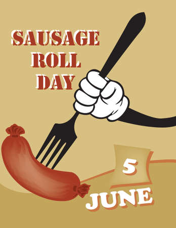 Poster Sausage Roll Day.Vector illustration for a holiday date in june Çizim