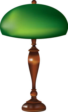 Retro table lamp with glass green shade and wooden stand.