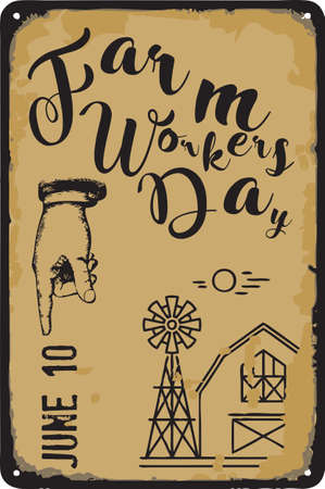 Old vintage sign to the date - Farm Workers Day. Vector illustration for the holiday and event in june. Çizim