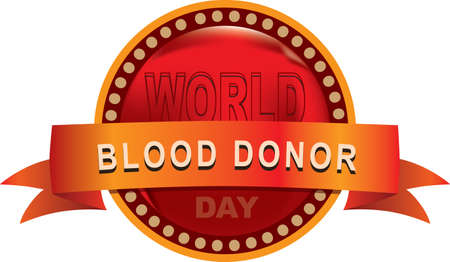 Round emblem label for event World Blood Donor Day