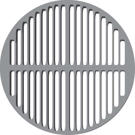 Round grill grate made of metal for picnics. Vector illustration. Çizim