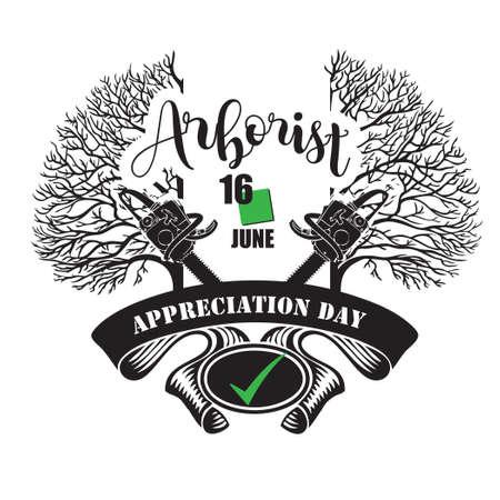 The calendar event is celebrated in june - Arborist Appreciation Day Çizim