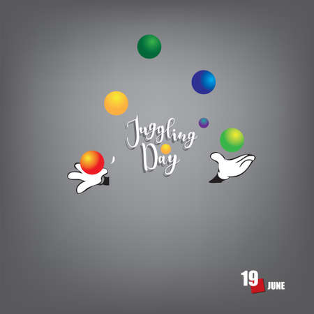 The calendar event is celebrated in june - Juggling Day Çizim