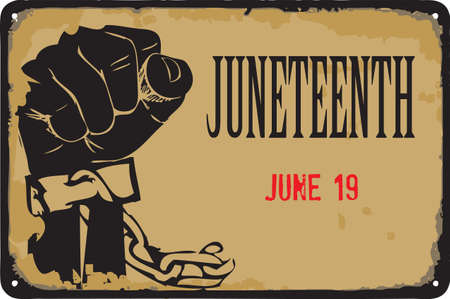 Old vintage sign to the date - Juneteenth. Vector illustration for the holiday and event in June. Çizim