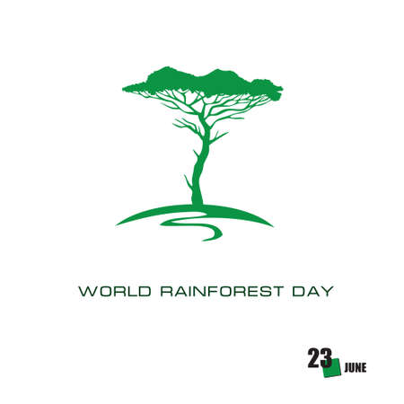 The calendar event is celebrated in june - World Rainforest Day Çizim