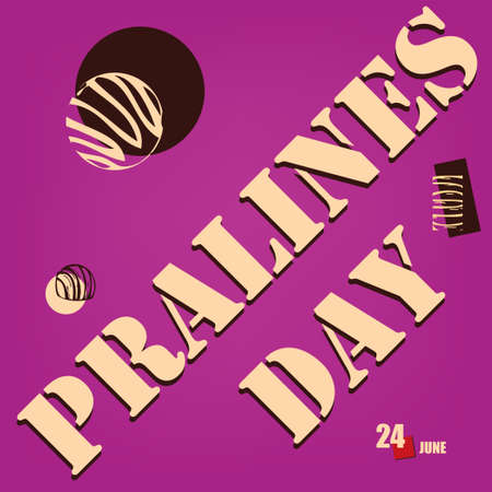 The calendar event is celebrated in june - Pralines Day Çizim