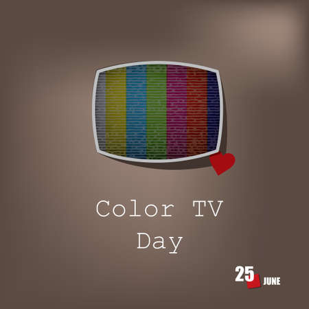 The calendar event is celebrated injune - Color TV Day Çizim