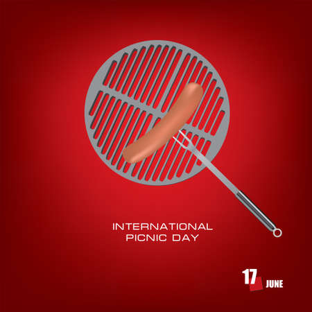 The calendar event is celebrated in june - International Picnic Day Çizim