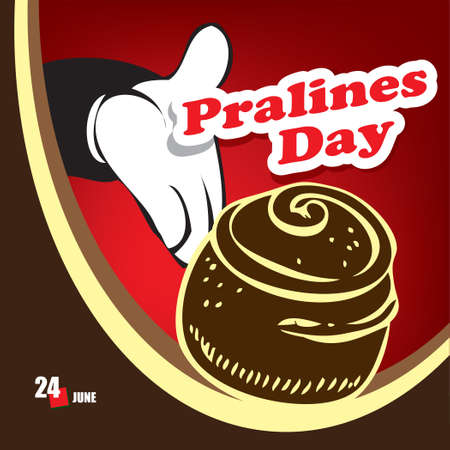 A festive event celebrated in june - Pralines Day Çizim