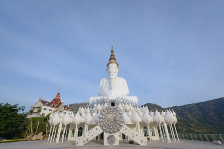 5 sitting Buddhas statue , temple Relics cliff Hide glass. Public religious place in Thailand. Editorial