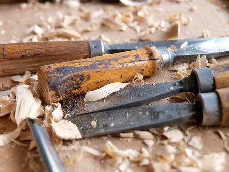 carving tool: Wood craftsmanship Stock Photo
