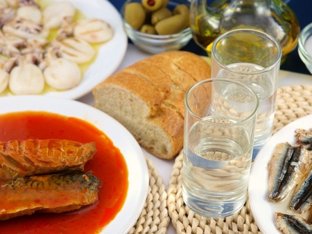 Sea food and ouzo Stock Photo