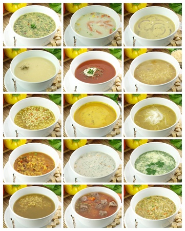 collage alphabet: Collection of delicious and healthy soups Stock Photo