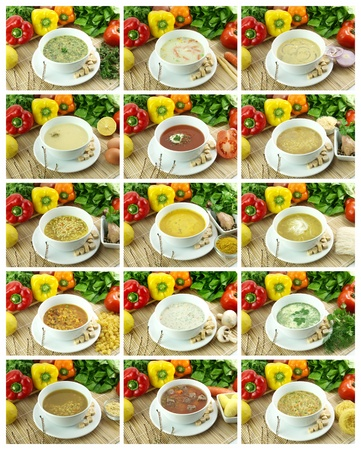 Collection of delicious and healthy soups photo
