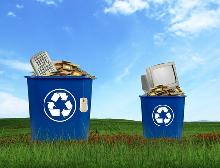 green recycling: Computer parts trash in recycle bin