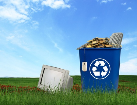electronics parts: Computer parts trash in recycle bin