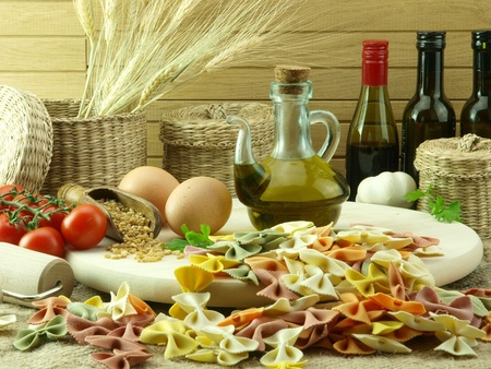 ingredient: Colorful farfale pasta and ingredients for cooking