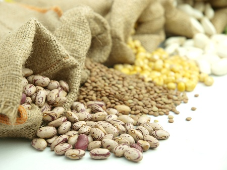 legumes: Burlap sacks with a misc legumes Stock Photo