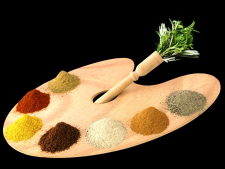 ingredients: Herbs and spices on a wooden palette