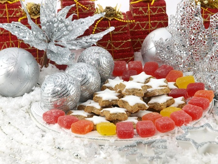 christmas dish: The Christmas sweets on the table Stock Photo