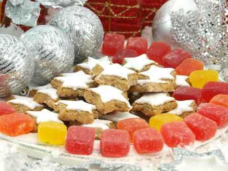 The Christmas sweets on the table photo