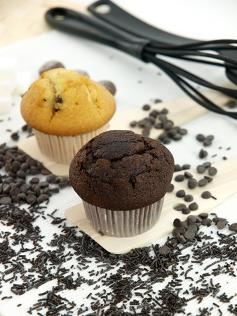Muffins on a table set photo