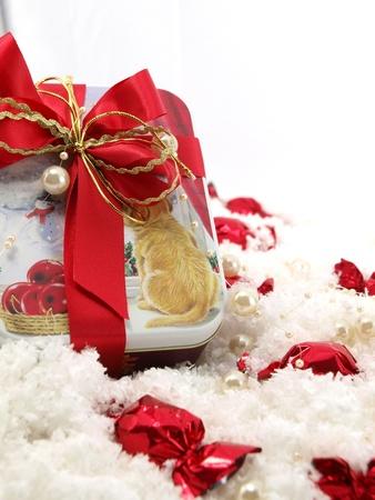 noel chocolat: Cadeau de No�l au chocolat sur la neige