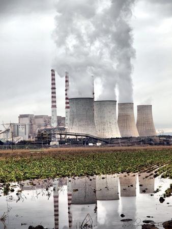 Smoking power station chimneys