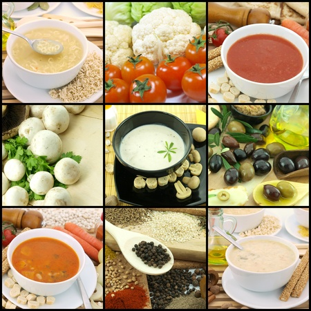 Collection of vegetarian soups photo