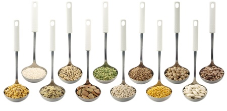 fava bean:  Misc legumes types over spoons