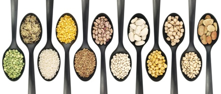 Misc legumes types over spoons  photo