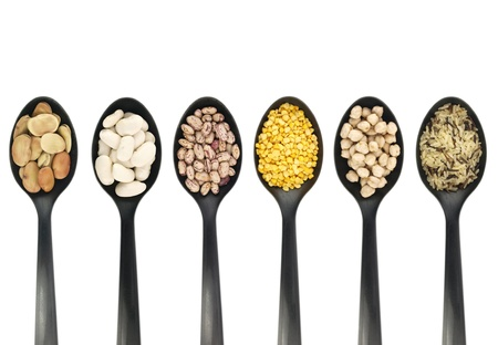 legumes:  Misc legumes types over spoons