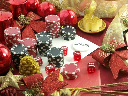 Christmas casino background with a gambling set  photo