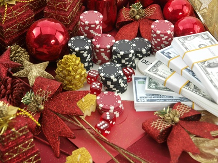 163. Christmas casino background with a gambling set  photo