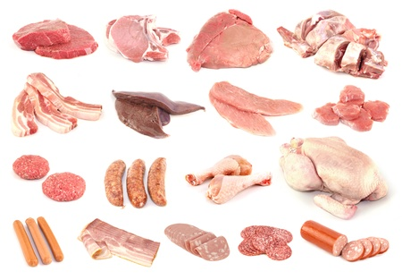 Meat collection isolated on white background photo