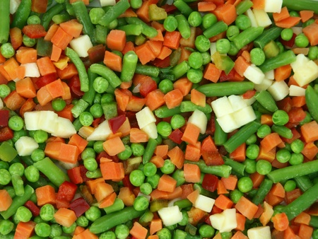 Closeup of a frozen mixed vegetables photo