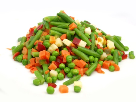 Closeup of a frozen mixed vegetables