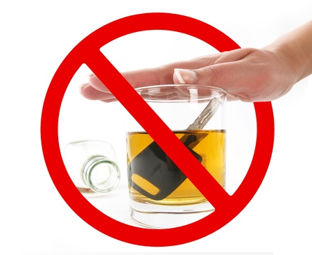 Glass of alcohol in prohibition signal photo