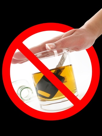 drink responsibly: Glass of alcohol in prohibition signal