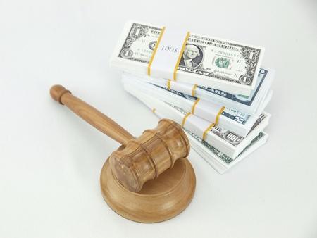 auction gavel: Auction gavel and money dollars