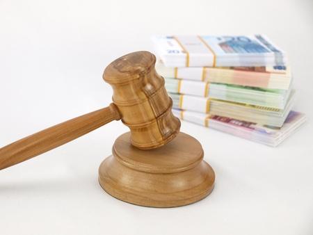 auction gavel: Auction gavel and money euro