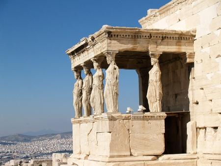 caryatids:  Caryatids at erechtheum of Parthenon at Athens, Greece